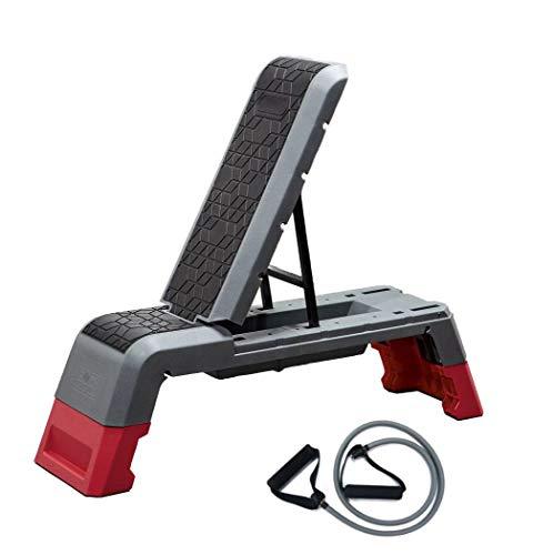 LIONSBLADE Multifunktion 3in1 Workout Bench | höhenverstellbare Bank | verstellbare Rückenlehne mit Fitnessbändern | Steppbrett Trainingsbank Schrägbank