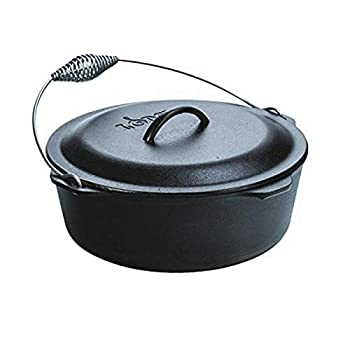 Lodge 9 Quart Cast Iron Dutch Oven Pre Seasoned Cast Iron Pot and Lid with Wire Bail for Camp Cooking