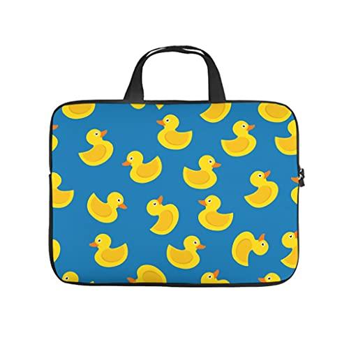 Facbalaign Bolsa para ordenador portátil pequeña de pato amarillo, bolsa de mensajero, portátil, suave, resistente al desgaste, con asa., blanco, 17 pulgadas,