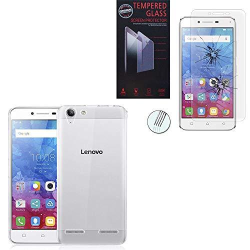 ANNART - Carcasa de silicona para Lenovo Vibe K5/Plus A6020a46/Lemon 3, ultrafina y 1 película de vidrio templado de color transparente para Lenovo Vibe K5/Plus A6020a46/Lemon 3