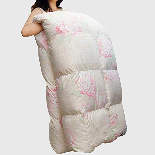 Hahaemall Lightweight Duvet Double All Seasons Duvet Insert Classic Quilt Hypoallergenic 100% Cotton Shell Down Proof Down Proof Fabric - Anti Allergen-200X230Cm-3.5Kg_White Pink