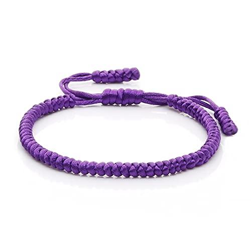 DUKAILIN Pulsera de personalidad multicolor cuerda nudo suerte pulsera señoras hombres encanto tejido hecho a mano pulsera tejer púrpura