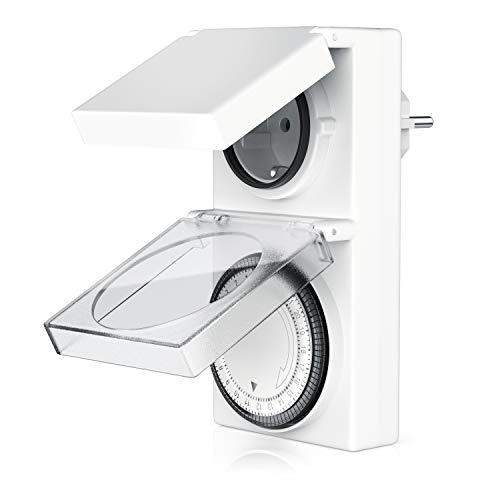 Bearware Mechanische Zeitschaltuhr für den Außenbereich - 96 Schaltsegmente - Schieberegler für Zeitangabe - 3680W - IP 44 Schutzart Outdoor - spritzwassergeschützt - integrierter Berührungsschutz
