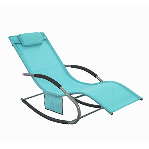 SoBuy OGS28-HB, Outdoor Garden Rocking Chair Relaxing Chair Sun Lounger with Side Bag, Blue