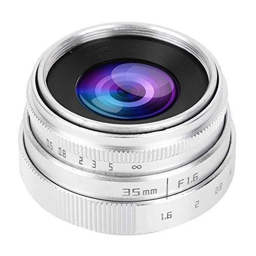 794 Lente de Cámara, 35 mm F1.6 CCTV C Montaje Manual Lente Digital Fija de Gran Apertura para Sony NEX, M4/3, FX(Plata)