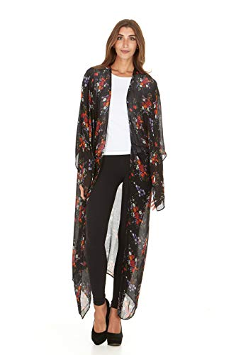 Laundry by Shelli Segal Women Sheer Loose Kimono Cardigan Cape Cover Up Blouse (Black/Red)