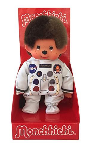 Sekiguchi 221257 - Original Monchhichi Junge Astronaut, aus braunem Plüsch, im weißen Raumfahrtoverall, ca. 20 cm