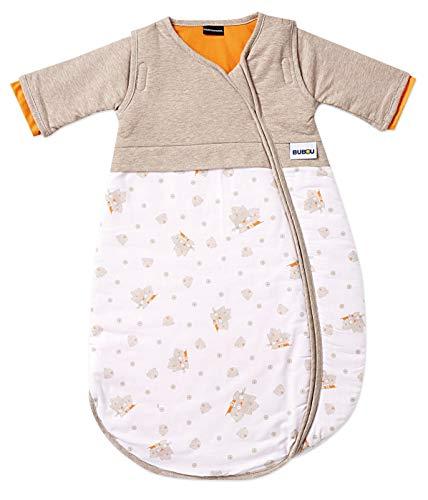 Gesslein Bubou Design 097: Temperaturregulierender Ganzjahreschlafsack/Schlafsack für Babys/Kinder, Größe 110, beige/weiß mit Katzen 097