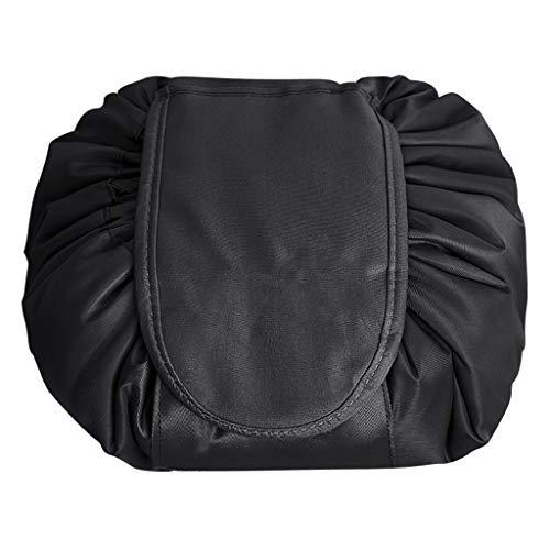 Sac cosmétique Lazy Makeup Wash Bag Portable Voyage Corée grande capacité cordon de rangement Stockage mignon Sac cosmétique (Color : BLACK, Size : 48 * 48 * 10CM)