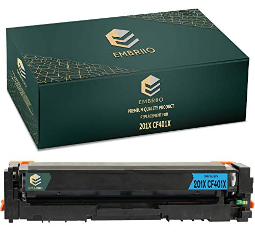 EMBRIIO CF401X 201X Cian Cartucho Tóner Reemplazo para HP Color Laserjet Pro MFP M277dw M277n M274n M252dw M252n