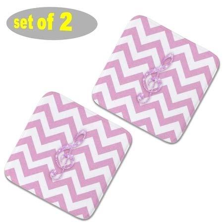 2 almohadillas cuadradas para sillas de cocina de felpa, almohadillas antideslizantes para asientos al aire libre, cojines gruesos de asiento de comedor 40 x 40 cm con purpurina nota musical rosa patrón de cheurón