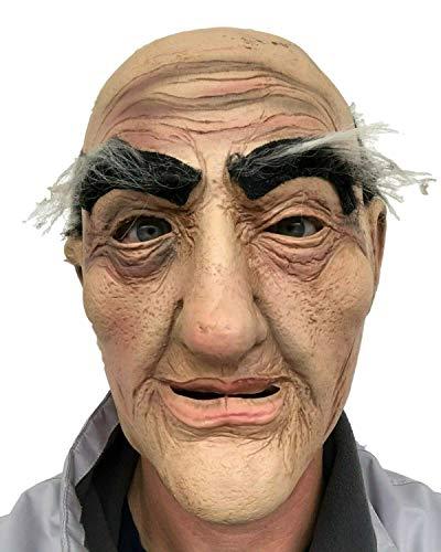 Rubber Johnnies , Mscara de hombre viejo, mago, barba blanca, adulto, talla nica, hombre calvo, abuelo realista, hombre ardiente, mscaras de Halloween, espeluznante