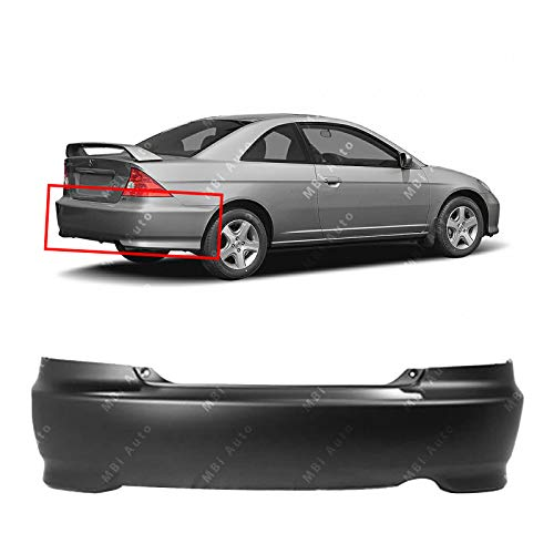 MBI AUTO - Primered, Rear Bumper Cover Replacement Fascia for 2004 2005 Honda Civic Coupe 04 05, HO1100216