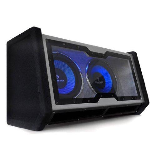 """auna CB-SUB-2X12 - Auto-Subwoofer, Doppel-Subwoofer, Twin-Subwoofer, 2400 W Peak-Leistung, 2 x 30 cm (12\"""")-Tieftöner, tiefschwarze Optik, Front aus Acryl, neon-Blauer LED-Lichteffekt, schwarz"""