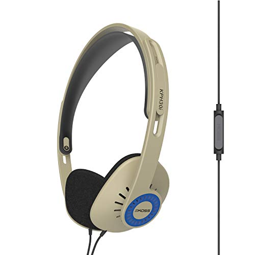 Koss KPH30iRB On-Ear Headphones, in-Line Microphone and Touch Remote Control, D-Profile Design, Wired with 3.5mm Plug, Rhythm Beige Electronics Features Headphones On-Ear