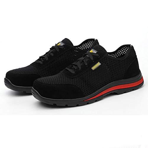 Calzado de protección Zapatos de trabajo de suela de goma antideslizante, zapatos de seguridad cómodos transpirables, entrenadores para hombre para mujer zapatillas de deporte de cojín de aire caminan