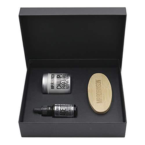 Pack regalo hombre para el cuidado de la barba: champú, aceite y cepillo   Kit de barba para hombre Mr. Robinson Belfort   Cuidado para la barba profesional   Sin parabenos