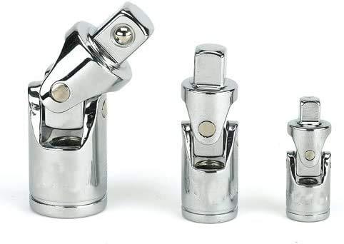 Chiloskit - Juego de 3 juntas universales de 1/4, 3/8, 1/2 (63 mm, 95 mm, 127 mm) para llaves de vaso en ángulo