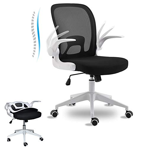 BINGTOO Home Office Desk Chairs- Ergonomic Office Chair with Lumbar Support- Foldable Mesh Backrest Computer Task Desk Chair with Adjustable Arms and Wheels