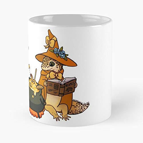 Leopard Witch Herpetology Gecko Wizard Cauldron Leo Lizard Eat Food Bite John Best 11oz Ounce White Ceramic Coffee Mug