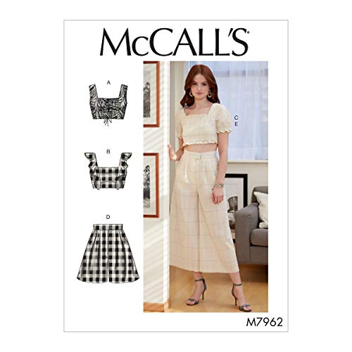 McCall Pattern Company McCall's Women's Crop Top, Shorts, and Flared Leg Pants, Sizes 4-12 Sewing Pattern, White