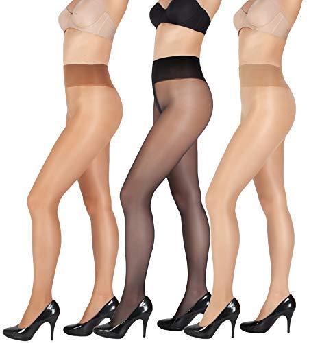 Giulia schwarze strumpfhose damen SENSI 20 DEN (3er Set) Bronzo-Daino-Schwarz M