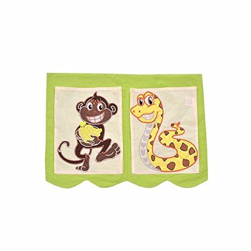 XXL Discount Sac de Jeu Orange/Vert pour lit d'enfant - Dimensions : 40 x 55 cm - 100% Coton - Rangement Accessoires de lit superposés - Lit superposé - Lit en Tissu - Motif : Jungle