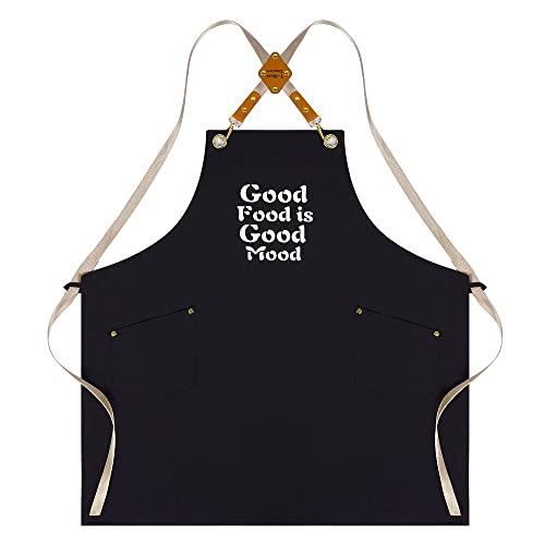 Unisex Apron Cross Back Adjustable Bib Apron for Women Men with 2 Roomy Pockets, Water Oil Stain Resistant Kitchen Cooking Apron, Machine Washable Chef Apron, Apron with Waist Ties (Black(slogan 1))