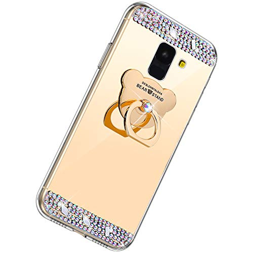 Herbests Cover compatibile con Samsung Galaxy A8 Plus 2018 Custodia Specchio Sottile Cover Silicone Morbido Glitter a Strass Custodia con Anello D'orso Supporto TPU Mirror Bumper Case,Oro
