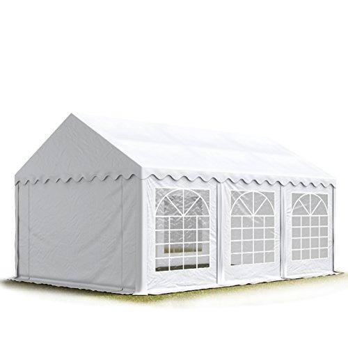 TOOLPORT Party-Zelt Festzelt 4x6 m Garten-Pavillon -Zelt ca. 500g/m² PVC Plane in weiß Wasserdicht