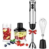 KOIOS Powerful 800W 4-in-1 Hand Immersion Blender 12 Speeds, Includes 304 Stainless Steel Stick Blender, 600ml Mixing Beaker, 500ml Food Processor, and Whisk Attachment, Multi-Purpose, BPA-Free