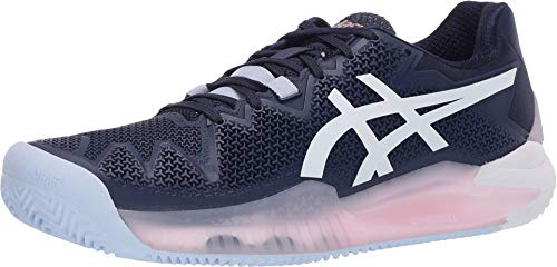 ASICS Women's Gel-Resolution 8 Clay Tennis Shoes, 12, Peacoat/White