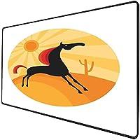 マウスパッドゲーム機能馬厚防水デスクトップマウスマット抽象動物フィギュア砂漠の暑い夏の自然の風景で正午に実行、多色ノンスリップゴムベース