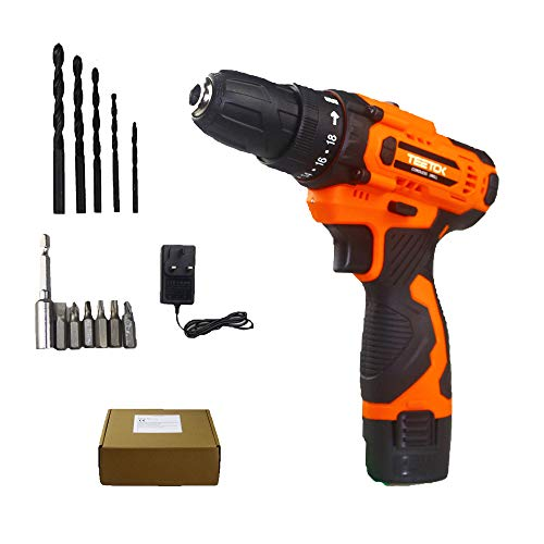 12V Cordless Drill and Screwdriver 12PCS Bits Set, Portable Hand Drill with 2-Speed, Cordless Combi Drill Set