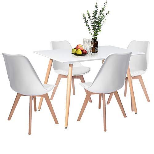 H.J WeDoo Esszimmergruppe mit Esstisch und 4 Essstühlen, Rechteckig Esstisch mit 4 Esszimmerstühle Geeignet für Esszimmer Küche Wohnzimmer, Weiß Esstisch und Stühle