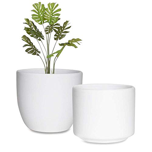 urohsew White Ceramic Flower Pot Indoor Planters,6 Inch Pack 2 Small Round Pot with Drainage