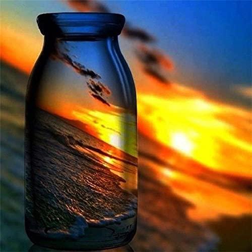 5D DIY diamante pintura puesta de sol botella de copa de vino kits para punto de cruz diamante bordado paisaje playa regalo hecho a mano A2 40x50cm