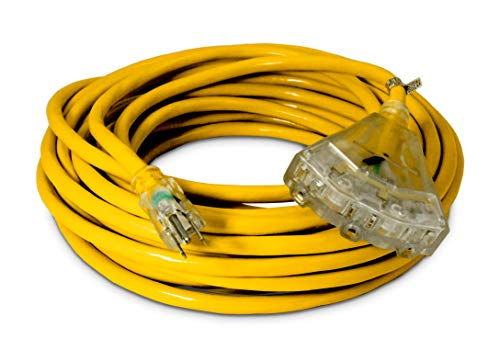 50-ft 12/3 Heavy Duty 3-Outlet Lighted SJTW Indoor/Outdoor Extension Cord by Watt's Wire - Yellow 50' 12-Gauge Grounded 15-Amp Three-Prong Power-Cord (50 foot 12-Awg)
