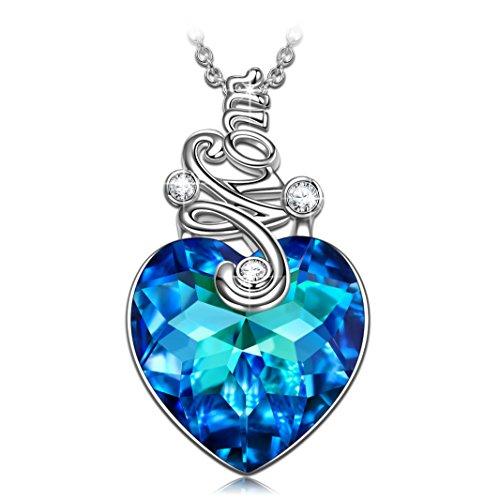 Kami Idea Collar, Te Amo Mamá, Chapado en Platino, Cristal de Corazón Azul de Swarovski, Embalaje de Regalo, Regalos para Mamá