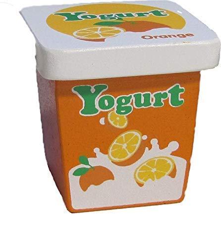 Kaufladenzubehör, Joghurt Orange aus Holz