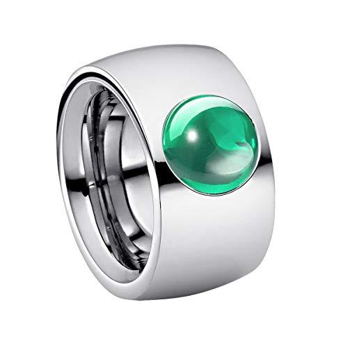 Anillo Heideman Ring Ladies Coma14 Cabo acero inoxidable color plata mate anillo para mujeres con cabujón color verde menta Gr. 60