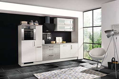 respekta Küche Küchenzeile Küchenblock Einbauküche weiß Hochglanz Beton 290 cm