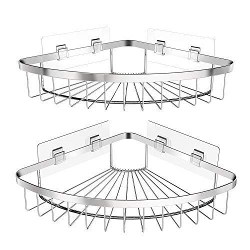 SMARTAKE 2Pack Corner Shower Caddy SUS304 Stainless Steel Wall Mounted Bathroom Shelf with Adhesive Storage Organizer for Toilet Dorm and Kitchen Silver
