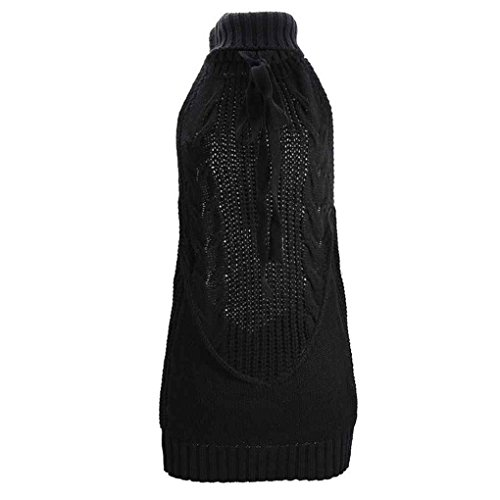 Babysbreath Mujeres Sexy Cosplay Turtleneck Knit Backless suéter, Las Mujeres sin Virgin Killer Pullover Sweater Dress Top Negro