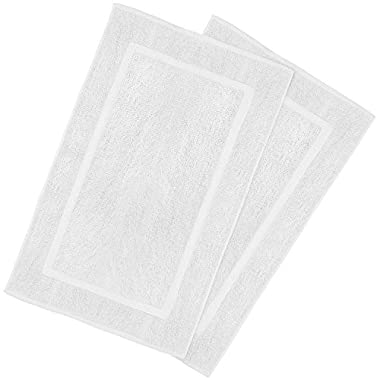 Utopia Towels 21-Inch-by-34-Inch Washable Cotton Banded Bath Mat, 2 Pack, White