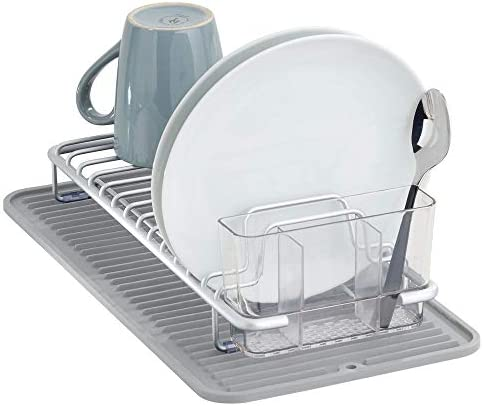 mDesign Compact Kitchen Countertop Sink Dish Drying Rack and Silicone Drying Mat with Cutlery product image