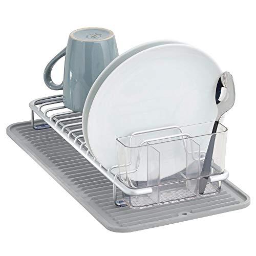mDesign Juego de 2 escurridores de platos de plástico – Con cesta...