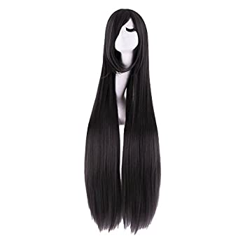 MapofBeauty 40  100cm Oblique Bangs Anime Costume Long Straight Cosplay Wig Party Wig  Black