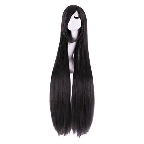 MapofBeauty 100cm/ 39 pulgada medio lacio seorita lacio anime traje Pelucas (negro)