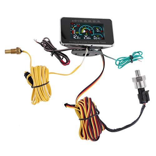 mdhsh 12V 24V Auto 4in1 Digital Voltmeter Öldruck Kraftstoff Wasser Temperaturüberwachung Alarmanzeige